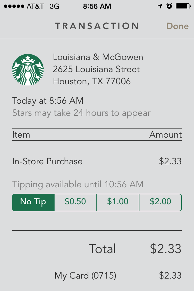 ux tips for tipping in the starbucks app everyday interactions. Black Bedroom Furniture Sets. Home Design Ideas